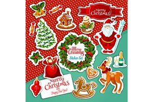 Christmas holiday stickers set
