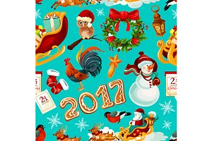 New Year and Christmas pattern