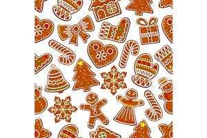Ginger cookie Christmas pattern