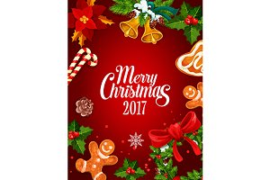 Christmas holiday holly poster