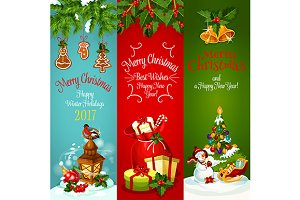 X-mas holiday banner set