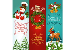 Merry Christmas festive banners