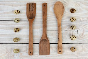 Wood Utensils and Quail Eggs