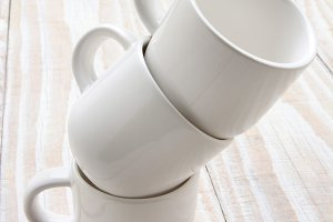 White Cups on White Background