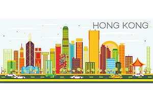 Abstract Hong Kong Skyline