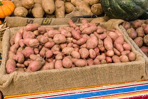 Red potatoes at market