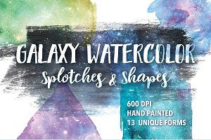 Galaxy Watercolor Splotches & Shapes