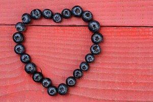 Heart Shape Made From Blueberries