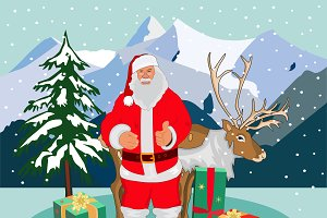 Christmas theme, Santa Claus, deer