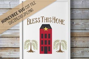 Primitive Bless This Home Saltbox