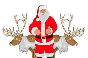 Santa Claus and deer, vector