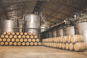 Wine barrels stacked.
