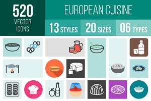 520 European Cuisine Icons