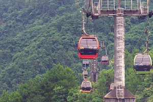 cable car with winding curves roadt