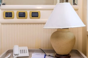 table lamp with telephone