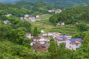 Landscape of village in mountains