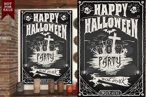 Halloween Party Blackboard