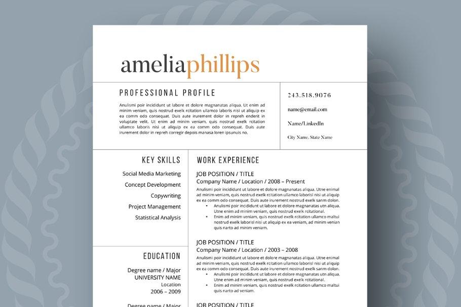 Uitzonderlijk Modern Resume Template ~ Resume Templates ~ Creative Market #FL51