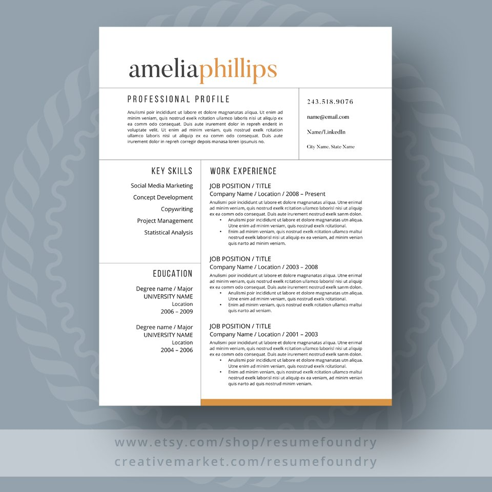 Resume Font Classy Modern Resume Template Resume Templates Creative Market