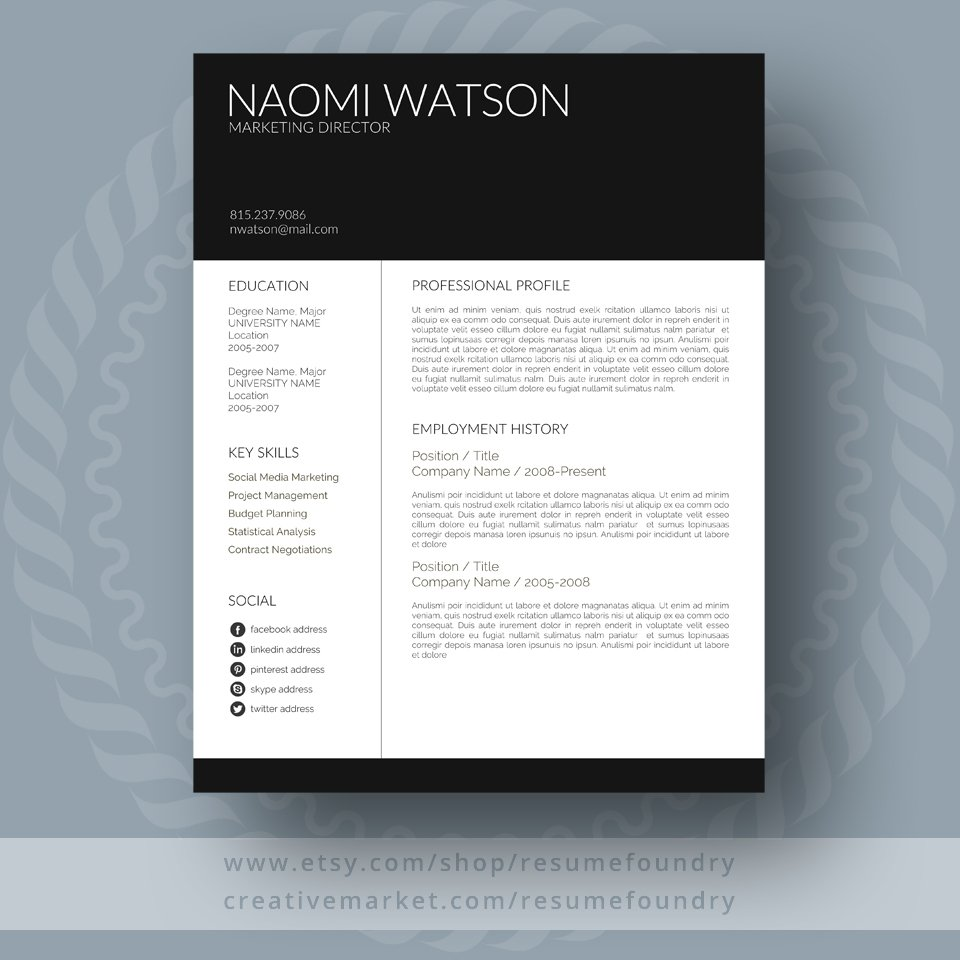 modern resume template - Classy Resume Template