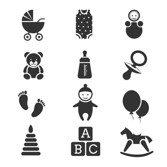 Baby Kids Vector Icons Set