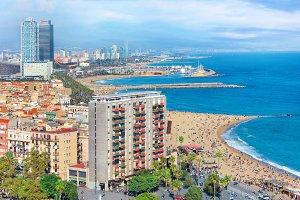 Aerial view of Barceloneta beach