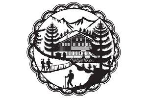 Swiss Chalet Alpine Hiker Decoupage