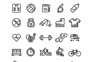 Fitness health sport outline icons