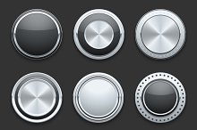 Silver metal chrome vector buttons