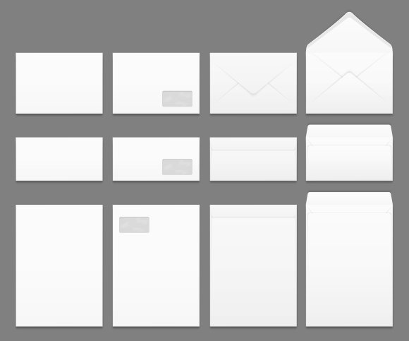 Blank White Paper Envelopes Vector