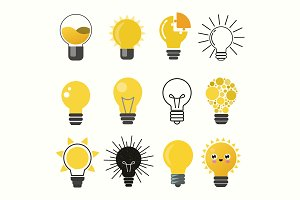 Light bulbs vector set
