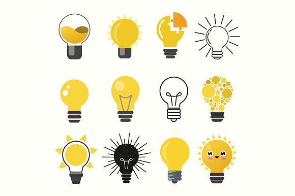 Light bulbs vector set Objects Creative Market