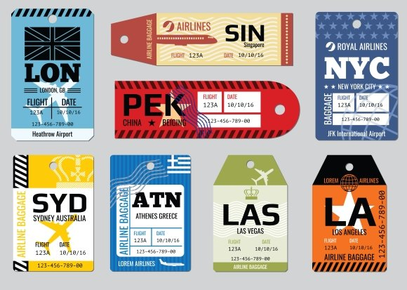 Vintage luggage tags, travel labels ~ Graphics ~ Creative Market