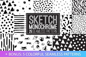 Sketch monochrome seamless patterns