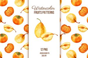 Watercolor fruits patterns