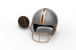 football helmet and Rugby ball