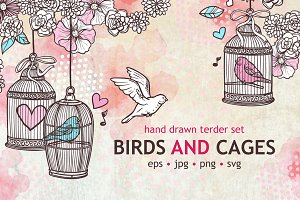 Birds and Cages Sketch Set