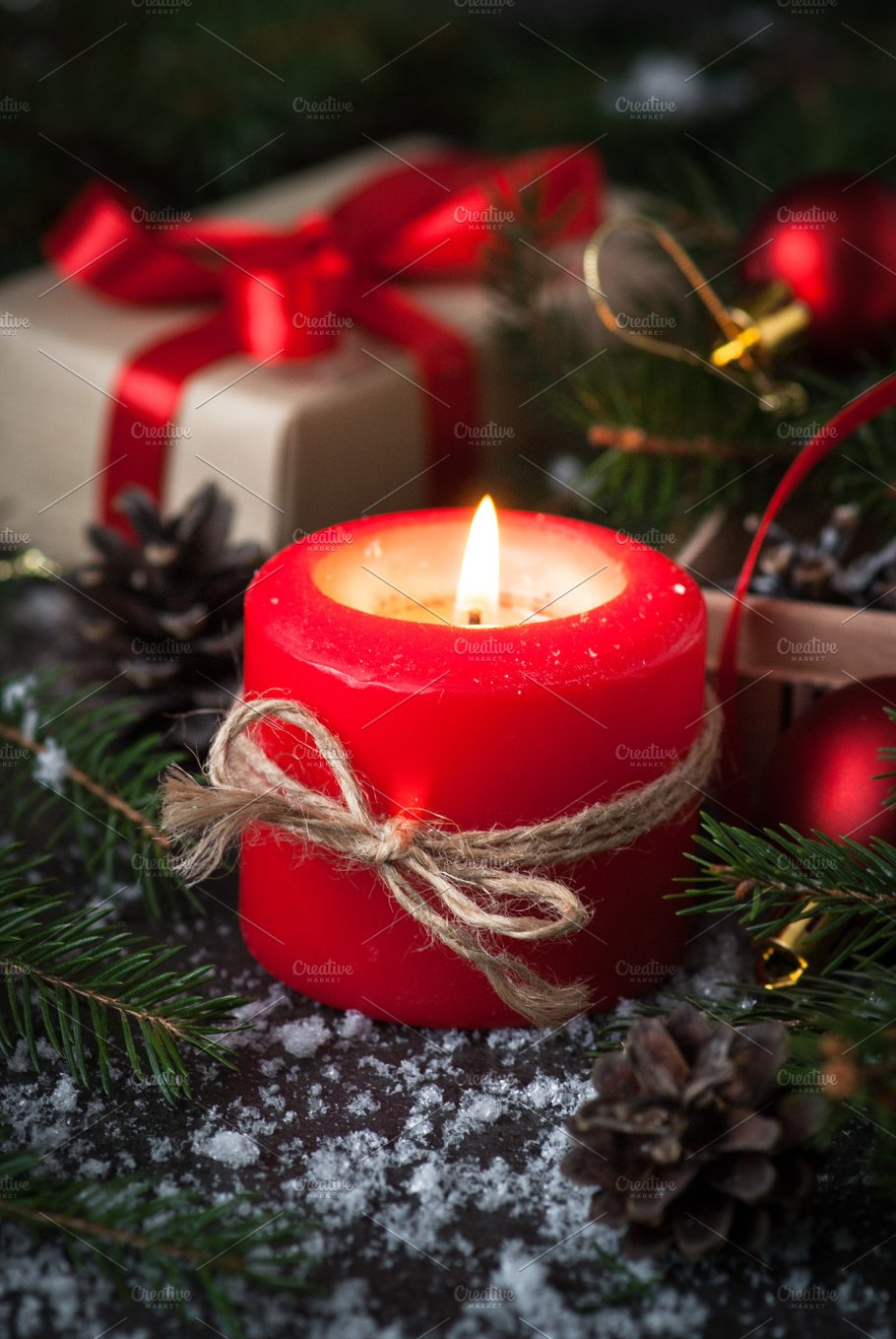 christmas candle present and decorations holidays