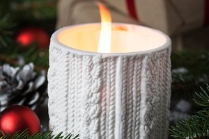 Christmas candle present and decorations