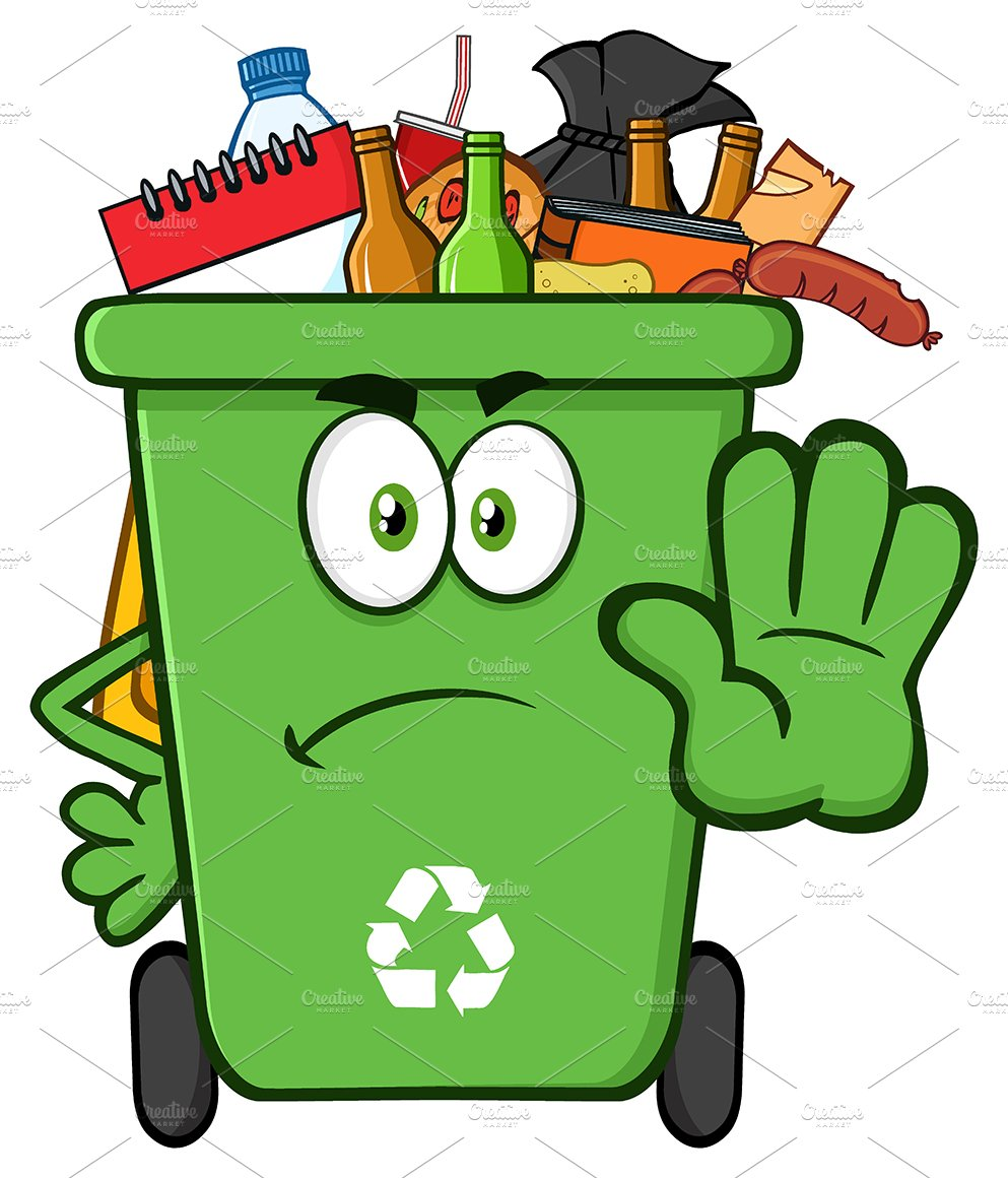 Green Recycle Bin Full With Garbage ~ Illustrations ...