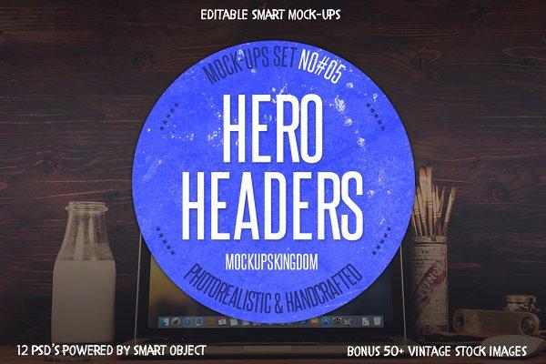 Hero Headers Macbook Mock-ups Set #…