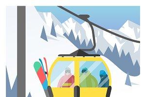Ski elevators vector