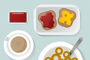 Breakfast flat top view vector