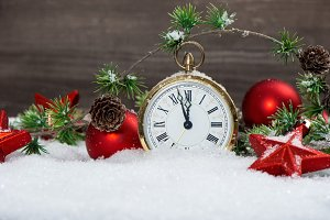 Christmas decoration with clock