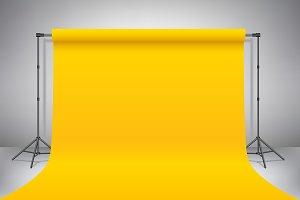 Empty photo studio Yellow background