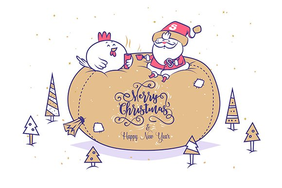 Santa and Rooster. Happy new year - Illustrations