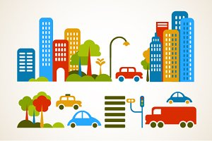 City and homes vector set