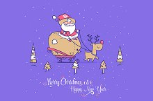Santa and deer. Merry Christmas