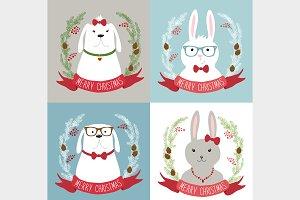 Cute winter cartoon characters