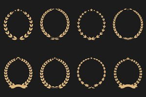 Collection of vector laurel wreaths